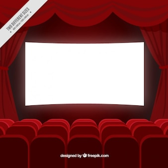 Cinema room background in red color