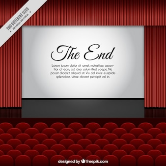 Cinema screen with the end of a film