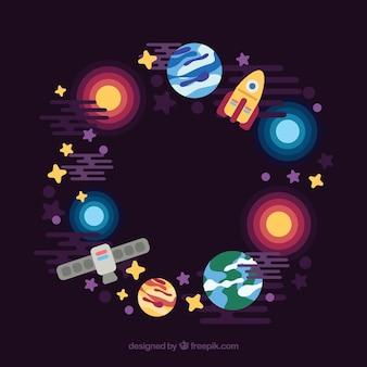 宇宙要素で作られた円の背景