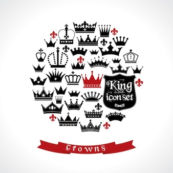 Circle background made up of crowns