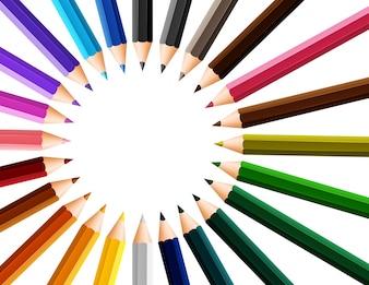 円の周りに色の鉛筆で鉛筆