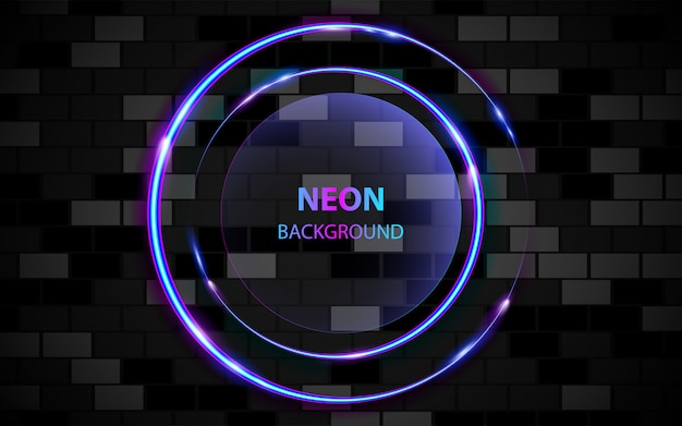 Circle frame with light neon effect on dark background