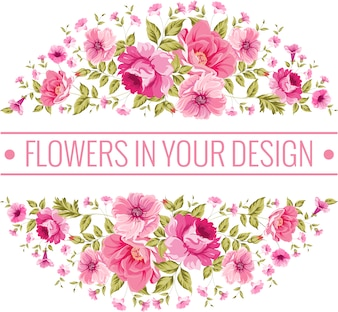 Circular background with pink flowers