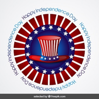 Circular badge of independence day with hat