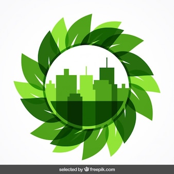 Circular badge with cityscape