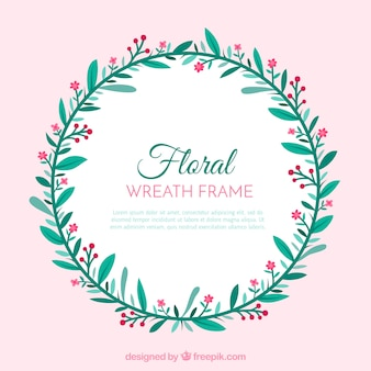 Circular floral frame with flat design
