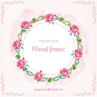 Circular floral frame with lovely roses