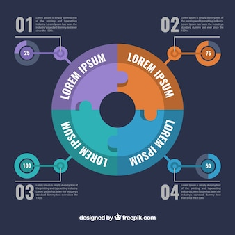 Circular infographics with colors