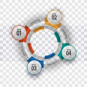 Circular infographics with four color options