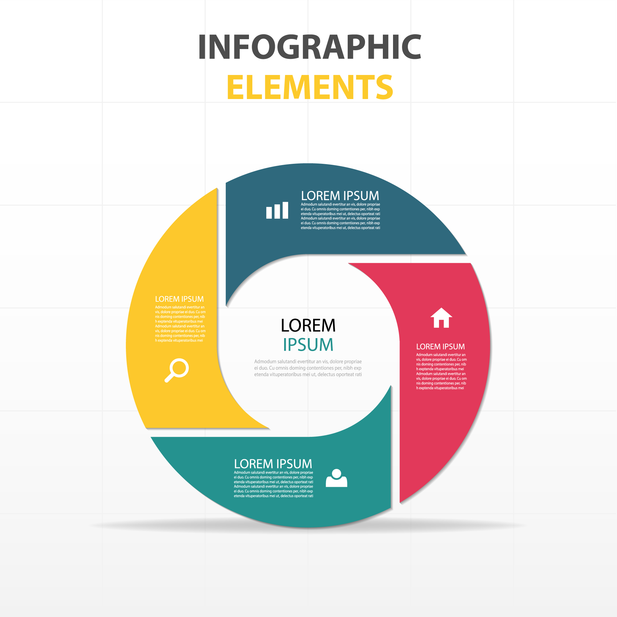 Circular infographics with four colors