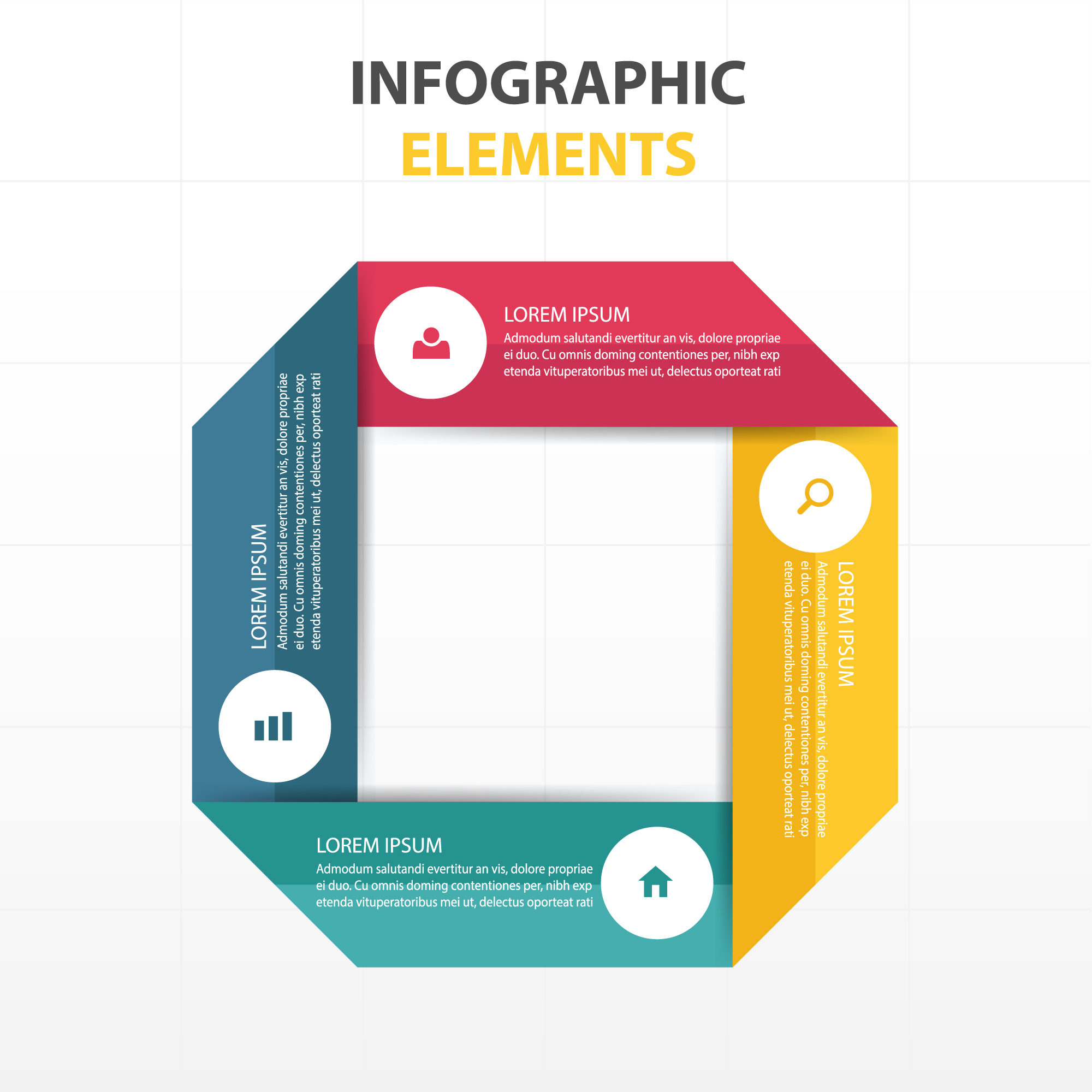 Circular infographics with ribbons
