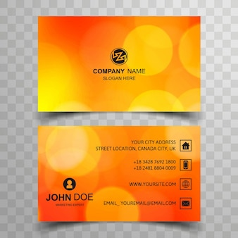 Circular orange business card