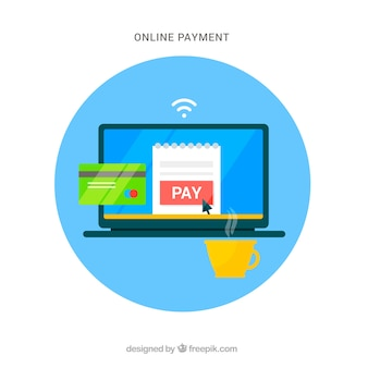 Circular scene about electronic payment