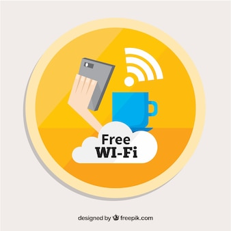 Circular wifi background in flat design
