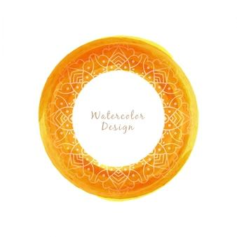 Circular yellow watercolor design with mandala
