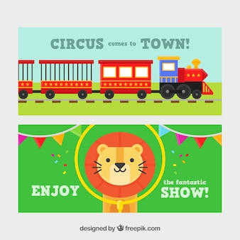 Circus banners with a train and a nice lion