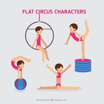 Circus characters in a flat style