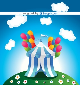 Circus marquee with colorful balloons