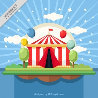 Circus tent background in flat design