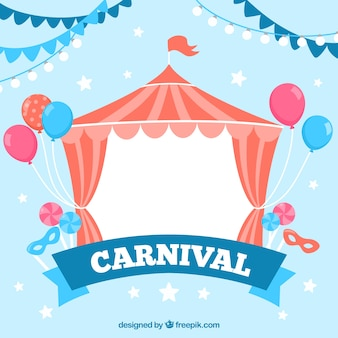 Circus tent background with balloons