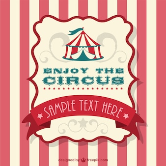 Circus tent label and striped background