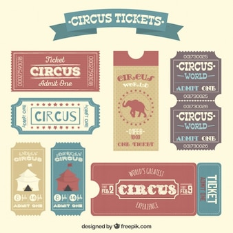 Circus tickets in retro style