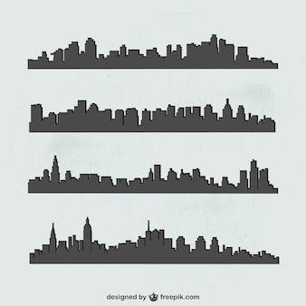 Cities silhouettes set
