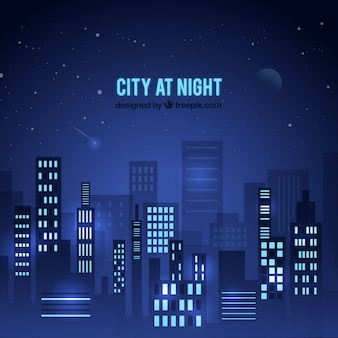 City at night in blue tones