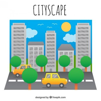 City atmosphere in flat design background