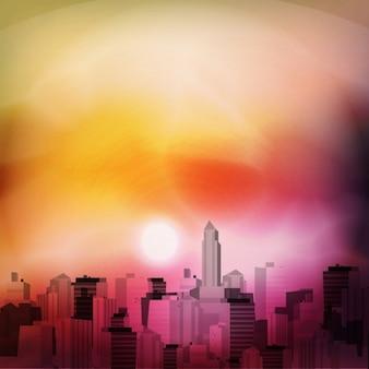 City background, sunset effect