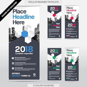 City Background Business Roll Up. Flag Banner  Design Template Set.