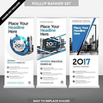 City Background Business Roll Upม Flag Banner  Design Template Set.