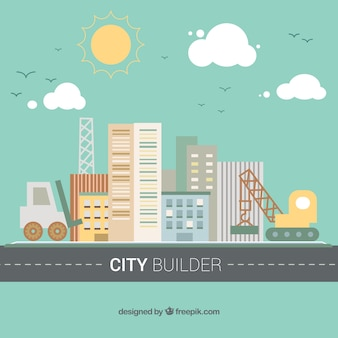City background with crane and excavator in flat design