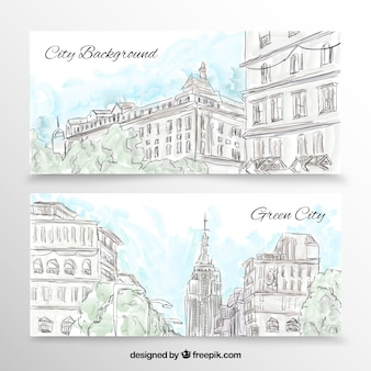 City banners in hand drawn style
