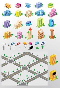 市内の建物のベクトル