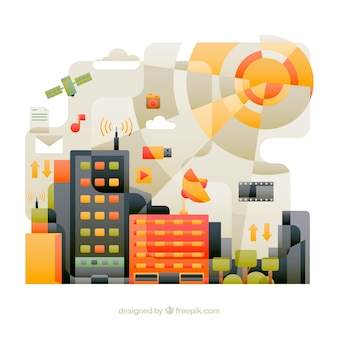 City made of technological elements