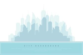 City Silhouette in Blue. Architectural Design Element, Vector Illustration