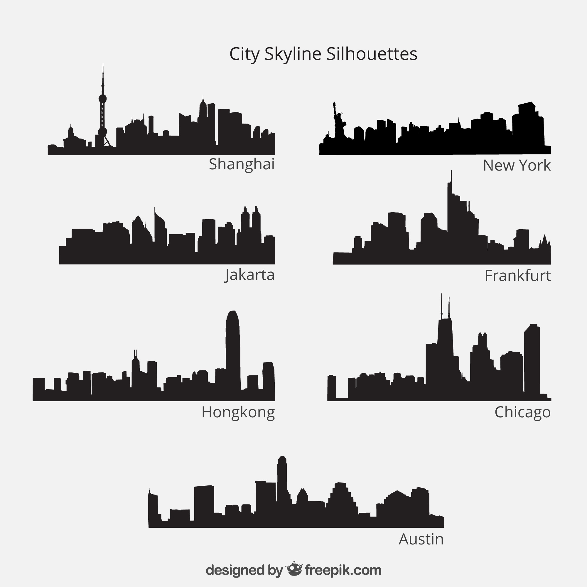 City skyline silhouettes pack