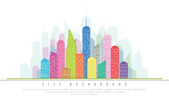 City Skyscrapers in Colors. Vector Illustration of Architectural Design Element