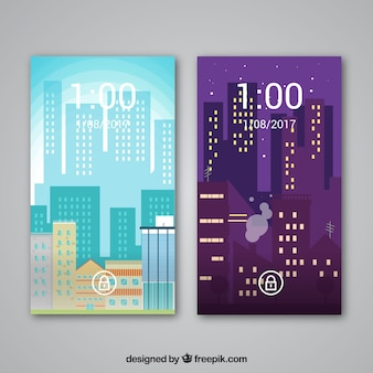 City wallpapers in flat design for mobile