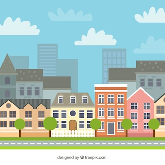 City with beautiful houses background
