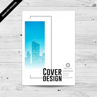 Cityline business cover design template with blue and grey gradient rectangles