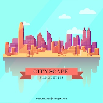 Cityscape background in flat design