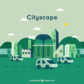 Cityscape background in green color