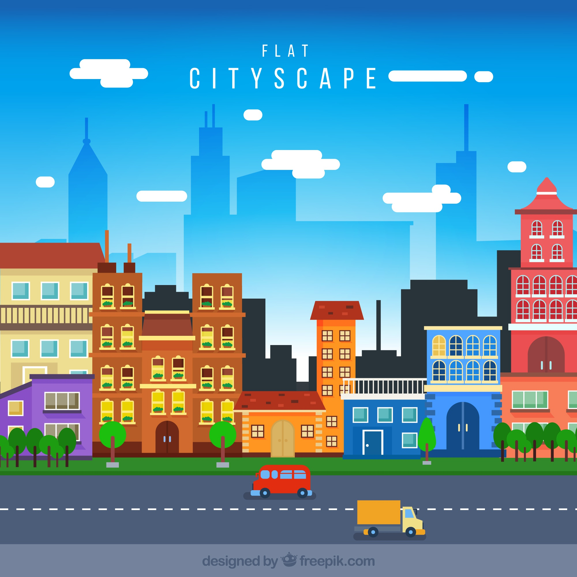 Cityscape with colored houses in flat design