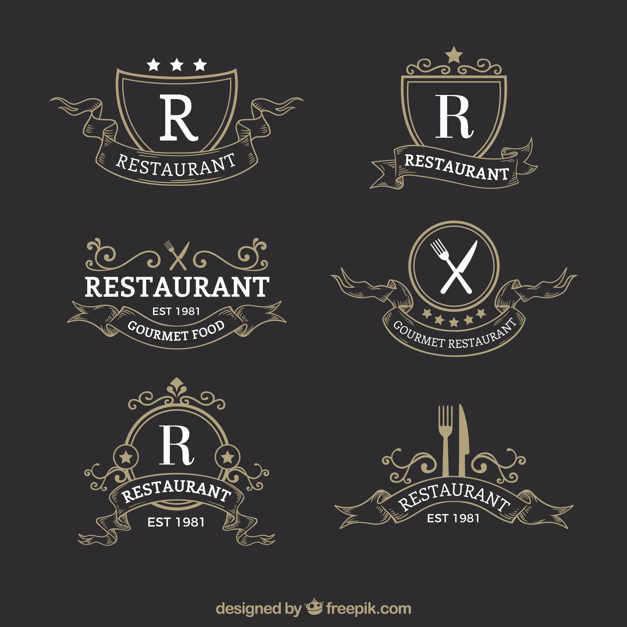 Classic and elegant restaurant logotypes