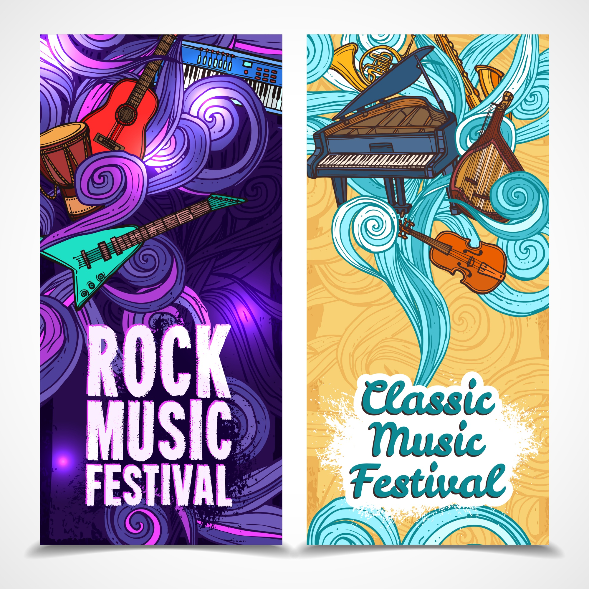 Classic and rock music festival vertical banners set with instruments isolated vector illustration