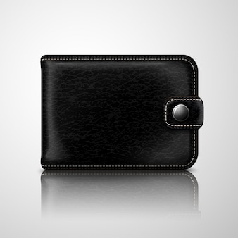 Classic black wallet leather textured