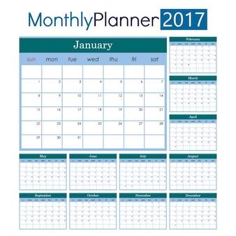 Classic calendar for 2017