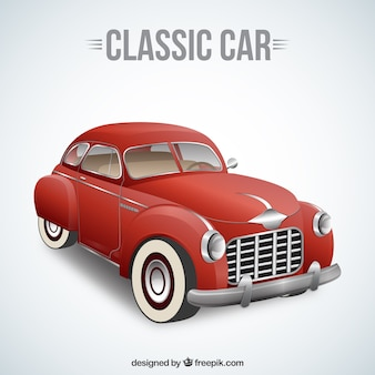 Classic car in red color
